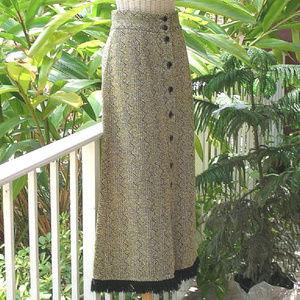Vintage 70s Tweed Wool Fringe Hippie Maxi Skirt